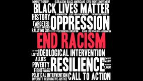 End Racism Word Cloud. On a black background Stock Image