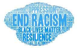 End Racism Word Cloud Stock Photo