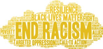 End Racism Word Cloud. On a white background Stock Photos