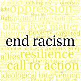 End Racism Word Cloud. On a white background Stock Images