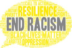 End Racism Word Cloud. On a white background Stock Photo