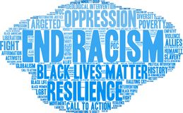 End Racism Word Cloud. On a white background Stock Photography