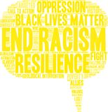 End Racism Word Cloud. On a white background Royalty Free Stock Photography