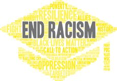 End Racism Word Cloud. On a white background Royalty Free Stock Photos