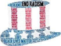 End Racism Word Cloud. On a white background royalty free illustration