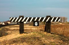 The end of the railway. Fencing. A sign of attention. stock image