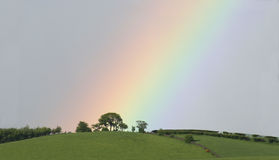 End of the rainbow. A rainbow descends to a sunlit, tree-lined hilltop stock photography