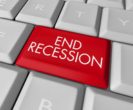 End Recession Key on Computer Keyboard stock illustration