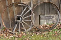 End of the Road. Brokened and abandoned wagon wheels one with only the rim left and the other only with the hub and a few spokes royalty free stock photo