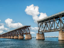 End of the Road. Decommissioned Overseas Highway bridge stands deserted and decaying at Bahai Honda Key in the Florida Keys Stock Images