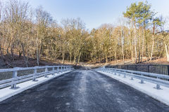 End of the road and the entrance to the forest. The end of asphalt road in front of the entrance to the forest Royalty Free Stock Photography