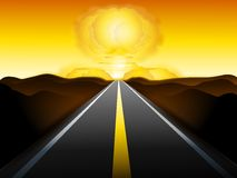 End of The Road For Humankind. An illustration featuring a nuclear bomb mushroom cloud at the end of a long dark road symbolic of concepts involving the end of Royalty Free Stock Images