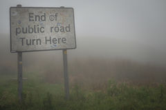 End of the road. Sign to show the end of the road Stock Image