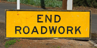 End roadwork traffic sign Stock Photos