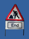 End of roadworks sign Stock Photos