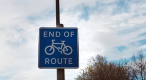 End of route for bicyce sign stock photography