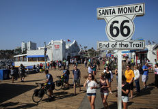 THE END OF ROUTE 66 IN SANTA MONICA, CALIFORNIA. SANTA MONICA, CALIFORNIA - TUES. JUNE 24, 2014: A sign commemorates the end point of Route 66 in Santa Monica stock photography