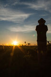 End of a Safari-day, Man watching sunset in African Savannah Stock Images