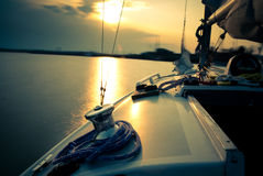End of a sailing day stock images