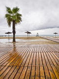 End of season. Empty beach in a rainy day. End of summer season Stock Photo