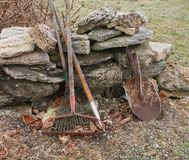 Frosty garden tools Stock Photo