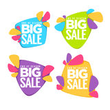 End of season, big sale. Vector collection of bright discount bubble tags, banners and stickers Stock Photos