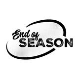 End of Season Black Label with Halftone Pattern. Hand Drawn Lettering with Grunge Fonts Combination. Handwritten Script Badge for Banner, Website, Flyer Royalty Free Stock Photography