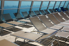 End of season - 3. Deck chairs on the deck of a cruise ship in the fall Stock Images
