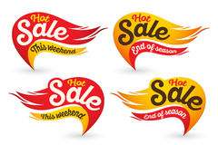 End of season. Hot fire sale vector labels stickers templates. End of season. Hot fire sale labels stickers templates. Vector illustration Stock Images