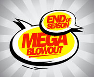 End of season mega blowout balloons pop-art style. stock illustration