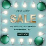 end of season sale banner with Christmas lights and bulbs. stock image