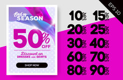 End of Season Sale Banner with Flying Satin. End of Season Sale Banner with Flying Satin on Lavender Background and Polka Dot Pattern. Advertising Template for Royalty Free Stock Photos