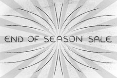 End of Season Sale. Illustration with text surrounded by two types of rays and flare Royalty Free Stock Photos