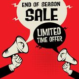 End of Season Sale - Limited Time Offer. Megaphone Hand business concept with text End of Season Sale - Limited Time Offer, vector illustration Royalty Free Stock Photography