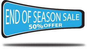 End of season sale 50% offer colorful web button white background. End of season sale 50% offer colorful design web icon and isolated white background Royalty Free Stock Images
