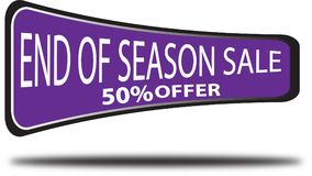 End of season sale 50% offer colorful web button white background. End of season sale 50% offer colorful design web icon and isolated white background Stock Images