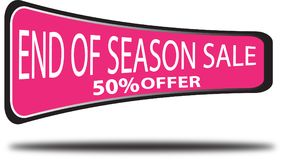 End of season sale 50% offer colorful web button white background. End of season sale 50% offer colorful design web icon and isolated white background Royalty Free Stock Image