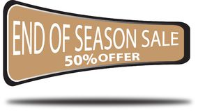 End of season sale 50% offer colorful web button white background. End of season sale 50% offer colorful design web icon and isolated white background Royalty Free Stock Photo