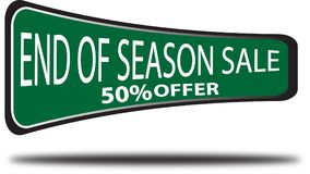 End of season sale 50% offer colorful web button white background. End of season sale 50% offer colorful design web icon and isolated white background Stock Photos