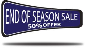 End of season sale 50% offer colorful web button white background. End of season sale 50% offer colorful design web icon and isolated white background Stock Photography