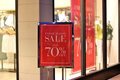 End of Season Sale. S at a clothing store Royalty Free Stock Photography