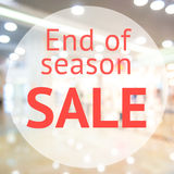 End of season sale sign. Over blurred store background. Design for shop and sale banners Royalty Free Stock Images