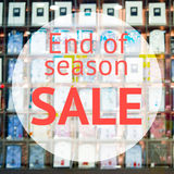 End of season sale sign. Over blurred store background. Design for shop and sale banners Stock Photos