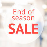 End of season sale sign. Over blurred store background. Design for shop and sale banners Stock Photo