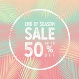 End of season sale up to 50 percent banner vector, Palm leaves with white border concept. vector illustration
