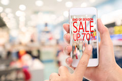End of season Sale up to 70 %  Promotion Discount Consumer Shopp Stock Photo