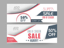 End of season sale web header or banner set. Creative End of Season Sale website header or banner set with 50% discount offer and space for your images Royalty Free Stock Photos