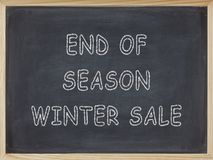 End of Season Winter Sale meat written on a blackboard. To mean a business concept Stock Photos