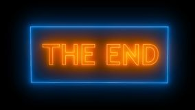 THE END Sign in Neon Style. Seamless loop stock footage