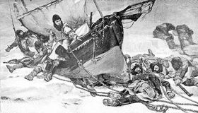 Sir Franklin Arctic expedition, vintage illustration Royalty Free Stock Photos